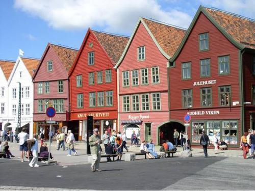 Houten huizen in Bergen